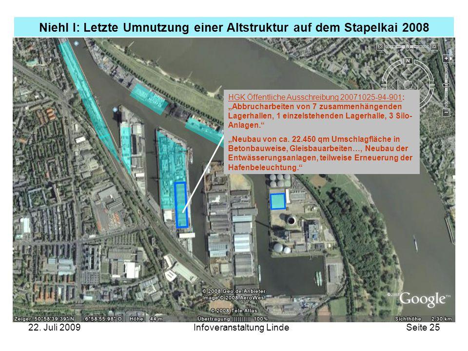 22. Juli 2009Infoveranstaltung LindeSeite 25 Niehl I: Letzte Umnutzung einer Altstruktur auf dem Stapelkai 2008 HGK Öffentliche Ausschreibung 20071025