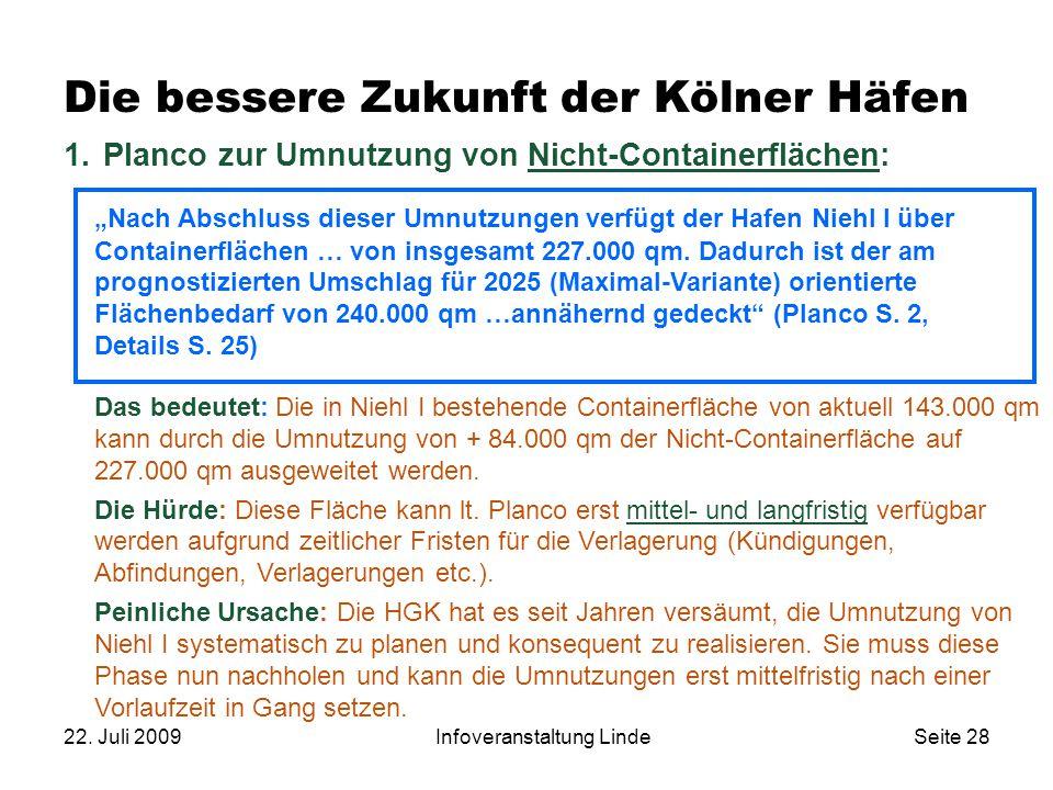 """22. Juli 2009Infoveranstaltung LindeSeite 28 1. Planco zur Umnutzung von Nicht-Containerflächen: """"Nach Abschluss dieser Umnutzungen verfügt der Hafen"""