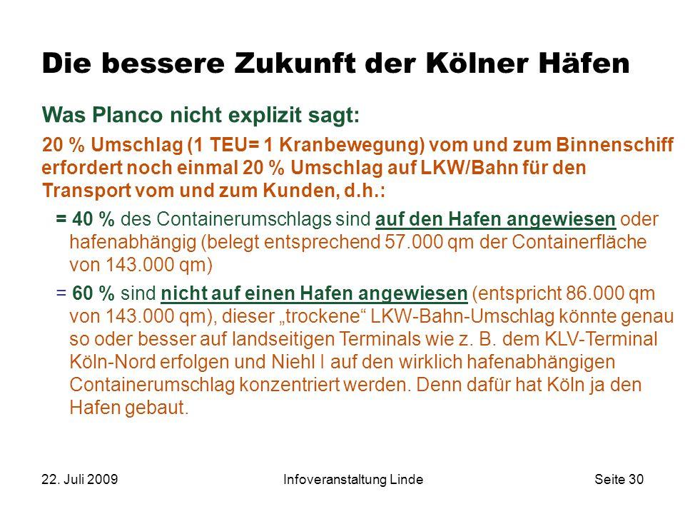 22. Juli 2009Infoveranstaltung LindeSeite 30 Was Planco nicht explizit sagt: 20 % Umschlag (1 TEU= 1 Kranbewegung) vom und zum Binnenschiff erfordert