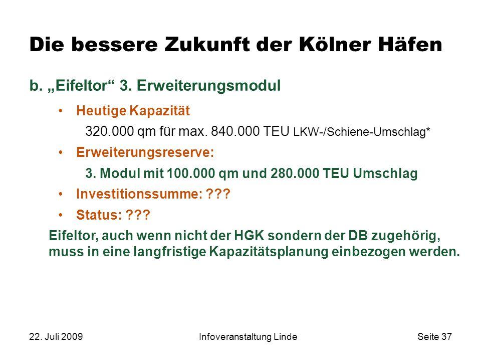 """22. Juli 2009Infoveranstaltung LindeSeite 37 Die bessere Zukunft der Kölner Häfen b. """"Eifeltor"""" 3. Erweiterungsmodul Heutige Kapazität 320.000 qm für"""