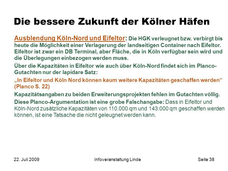 22. Juli 2009Infoveranstaltung LindeSeite 38 Die bessere Zukunft der Kölner Häfen Ausblendung Köln-Nord und Eifeltor: Die HGK verleugnet bzw. verbirgt