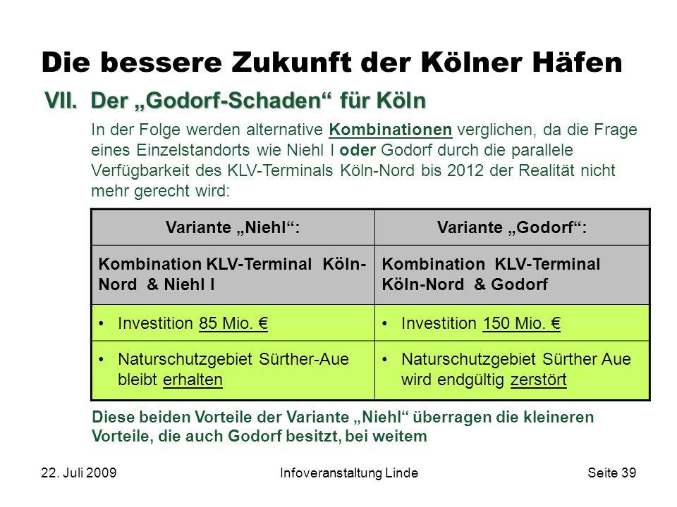 """22. Juli 2009Infoveranstaltung LindeSeite 39 VII.Der """"Godorf-Schaden"""" für Köln In der Folge werden alternative Kombinationen verglichen, da die Frage"""