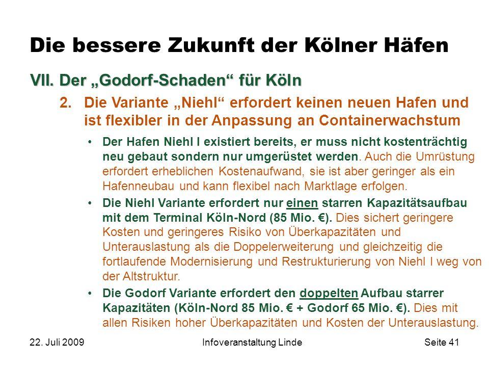 """22. Juli 2009Infoveranstaltung LindeSeite 41 VII. Der """"Godorf-Schaden"""" für Köln 2.Die Variante """"Niehl"""" erfordert keinen neuen Hafen und ist flexibler"""