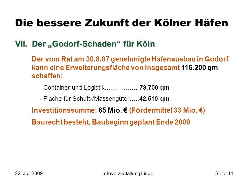 """22. Juli 2009Infoveranstaltung LindeSeite 44 Die bessere Zukunft der Kölner Häfen VII.Der """"Godorf-Schaden"""" für Köln Der vom Rat am 30.8.07 genehmigte"""