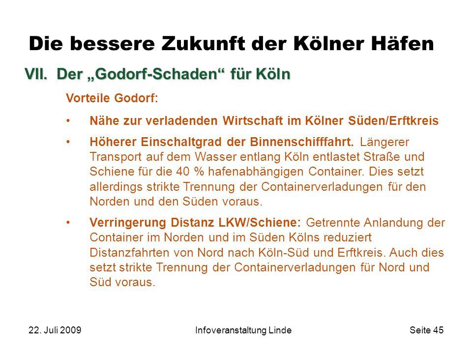 """22. Juli 2009Infoveranstaltung LindeSeite 45 Die bessere Zukunft der Kölner Häfen VII.Der """"Godorf-Schaden"""" für Köln Vorteile Godorf: Nähe zur verladen"""