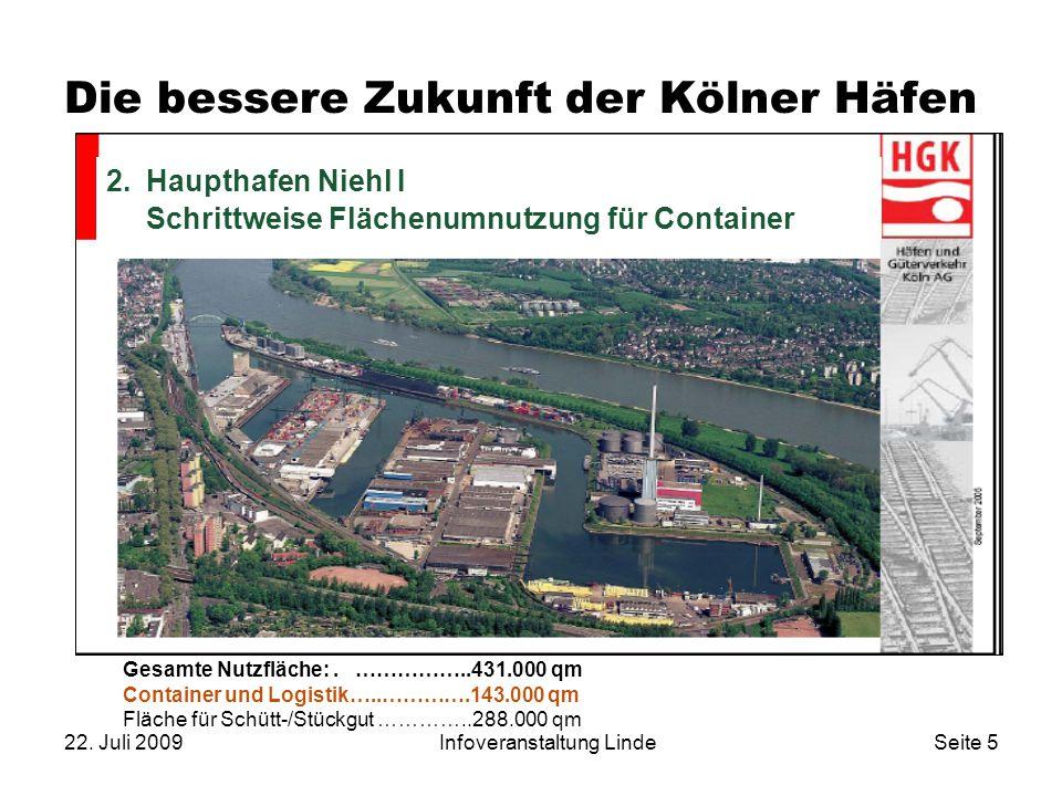 22. Juli 2009Infoveranstaltung LindeSeite 5 Die bessere Zukunft der Kölner Häfen 2. Haupthafen Niehl I – Umnutzung zu Containerhafen 2.Haupthafen Nieh