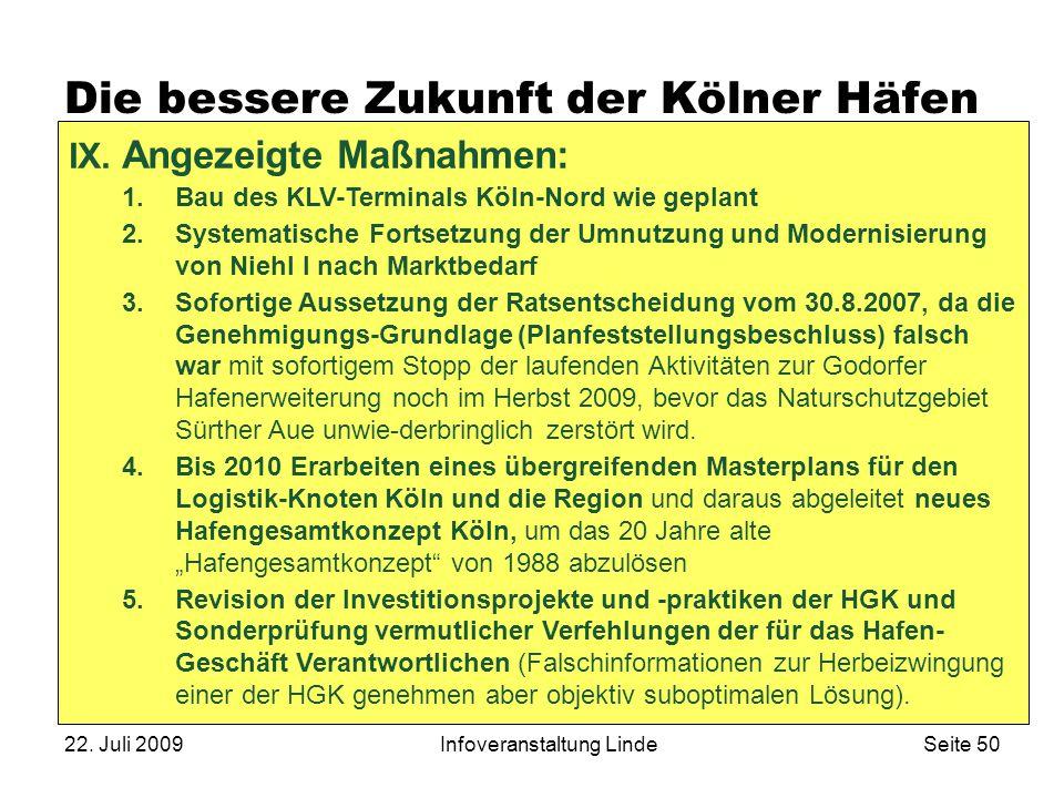 22. Juli 2009Infoveranstaltung LindeSeite 50 Die bessere Zukunft der Kölner Häfen IX. Angezeigte Maßnahmen: 1.Bau des KLV-Terminals Köln-Nord wie gepl