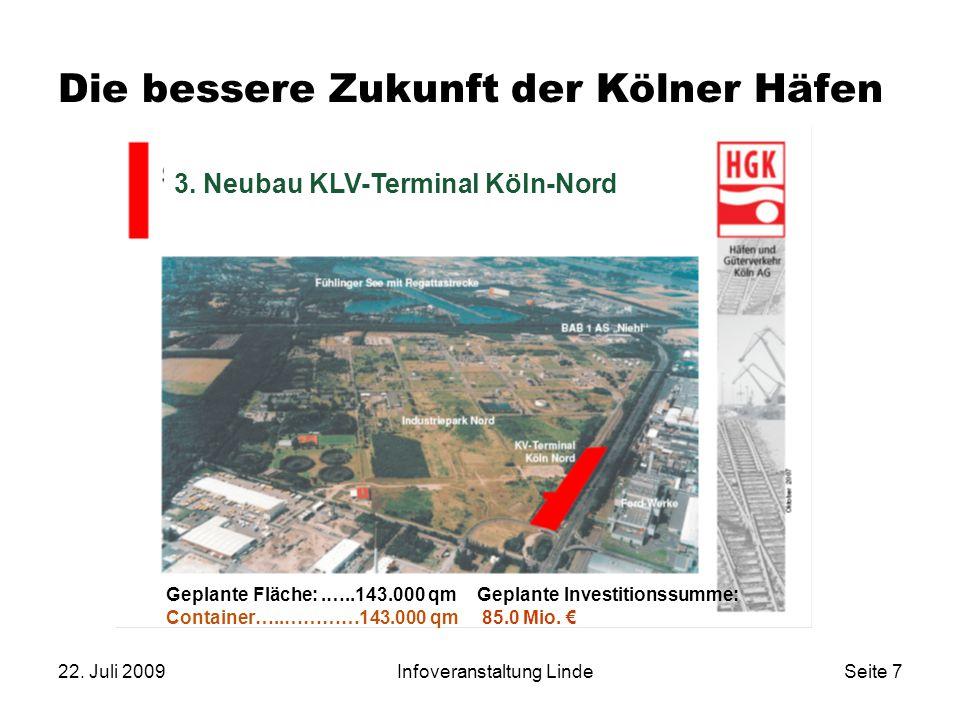 22. Juli 2009Infoveranstaltung LindeSeite 7 Die bessere Zukunft der Kölner Häfen 3. Neubau KLV-Terminal Köln-Nord Geplante Fläche:.…..143.000 qm Conta