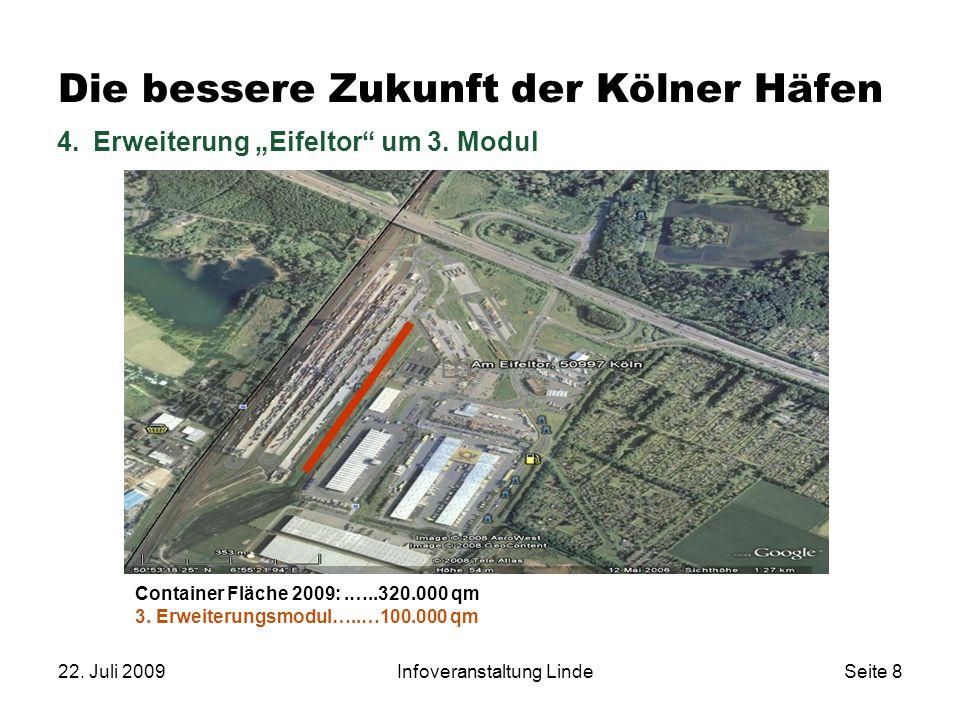 """22. Juli 2009Infoveranstaltung LindeSeite 8 Die bessere Zukunft der Kölner Häfen 4.Erweiterung """"Eifeltor"""" um 3. Modul Container Fläche 2009:.…..320.00"""