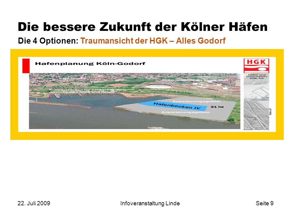 22. Juli 2009Infoveranstaltung LindeSeite 9 Die bessere Zukunft der Kölner Häfen Die 4 Optionen: Traumansicht der HGK – Alles Godorf