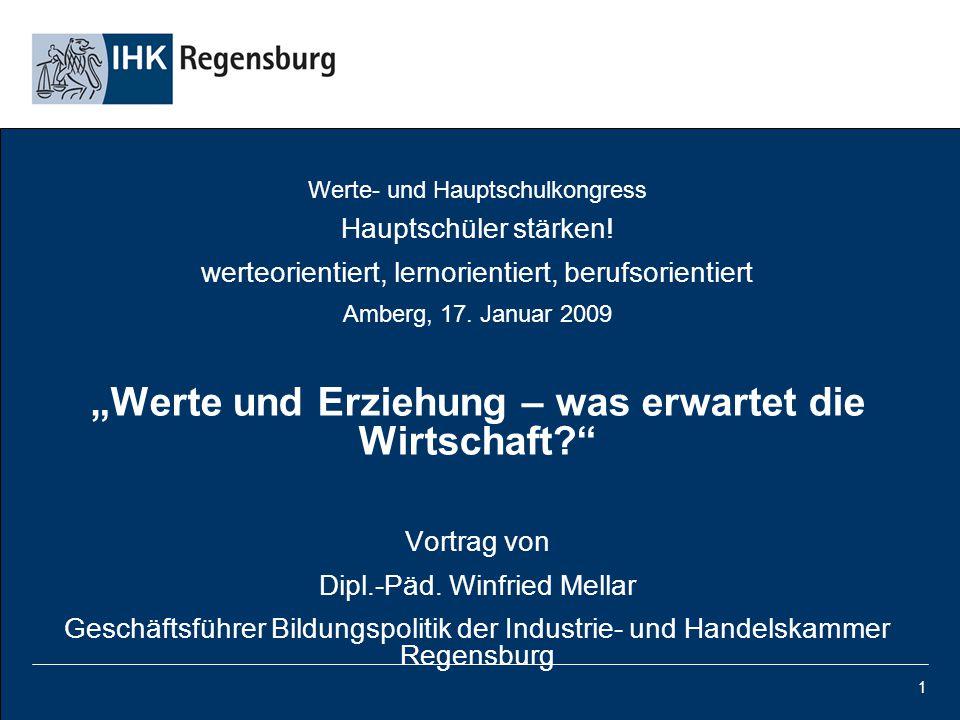 """1 Werte- und Hauptschulkongress Hauptschüler stärken! werteorientiert, lernorientiert, berufsorientiert Amberg, 17. Januar 2009 """"Werte und Erziehung –"""