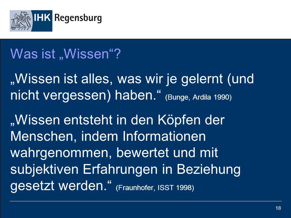 """18 Was ist """"Wissen""""? """"Wissen ist alles, was wir je gelernt (und nicht vergessen) haben."""" (Bunge, Ardila 1990) """"Wissen entsteht in den Köpfen der Mensc"""