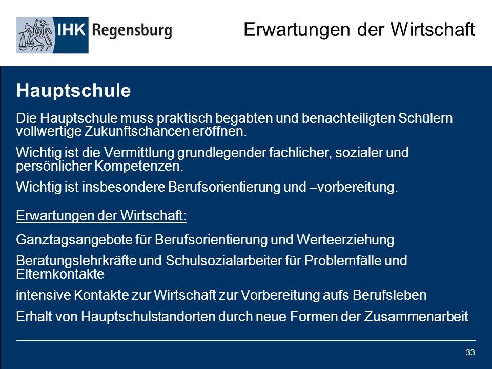 33 Erwartungen der Wirtschaft Hauptschule Die Hauptschule muss praktisch begabten und benachteiligten Schülern vollwertige Zukunftschancen eröffnen. W