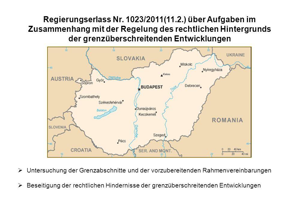 Status des Abschlußes der Rahmenvereinbarungen über die grenzüberschreitenden Entwicklungen mit den Nachbarnstaaten  SLOVAKIA – Rahmenvereinbarung wurde im Februar 2012 unterzeichnet / 29 bestehenden und 61 neu Grenzübergangsstellen  KROATIEN – Verhandlungen sind im Laufe 7 bestehende und 37 neue Grenzübergangsstellen  RUMÄNIEN – Entwurf der Rahmenvereinbarung wurde der rumänischen Seite zwecks Stellungnahme zugeschickt 64 Grenzübergangsstellen  UKRAINE /SERBIEN (non-EU, non-Schengen Staten) – Entwurf der Rahmenverienbarung wurde übergeben Je 21 bestehende Grenzübergangsstellen  SLOVENIEN – Entwurf der Rahmenvereinbarung wurde zugeschickt 27 bestehende und 1 neue Grenzübergangsstellen  AUSTRIA – Entwurf der RV wurde zwecks Stellungnahme übergeben 62 bestehende und 1 neue Grenzübergangsstellen