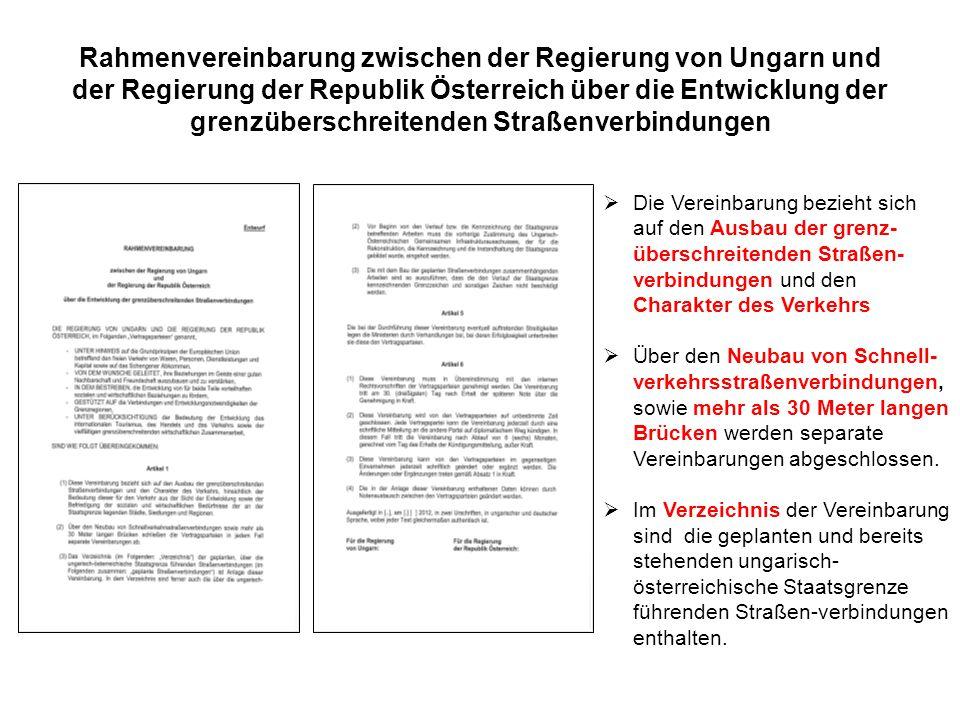Rahmenvereinbarung zwischen der Regierung von Ungarn und der Regierung der Republik Österreich über die Entwicklung der grenzüberschreitenden Straßenv