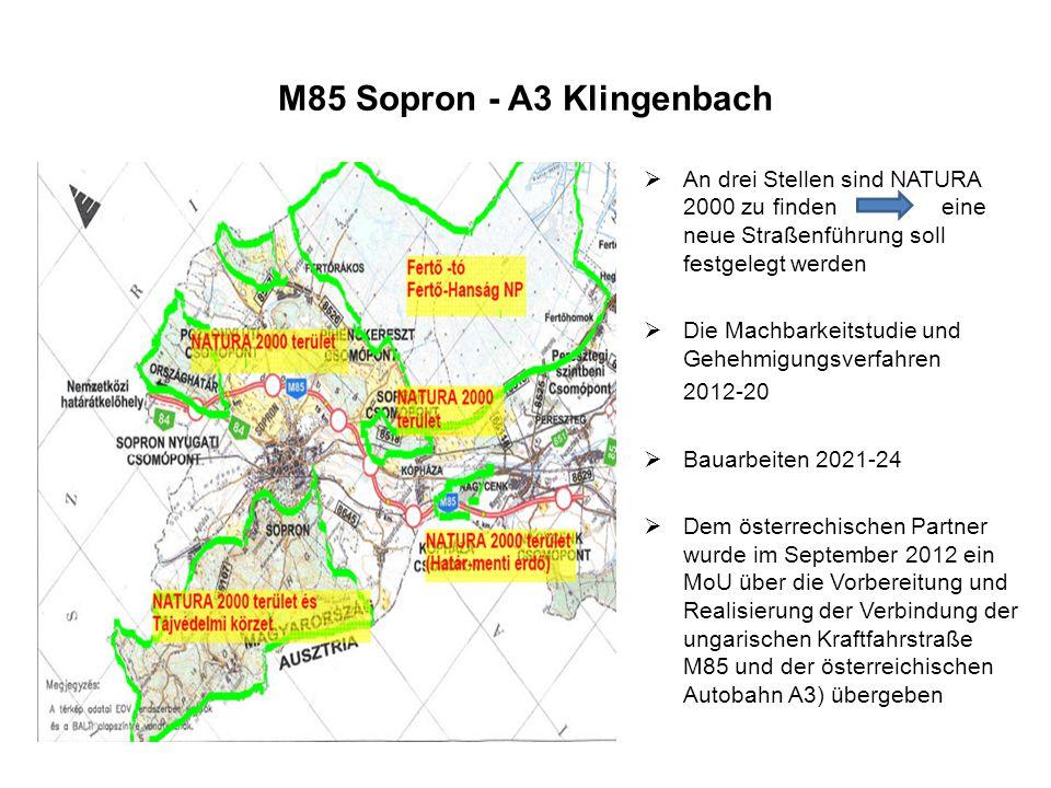 B61a Oberpullendorf – M87 Kőszeg Trassenführung Richtung Szombathely-Kőszeg wird neu festgelegt Grenzübergangsstelle Kőszeg-Klostermarienberg Erstellung der Machbarkeitstudie ist im Laufe