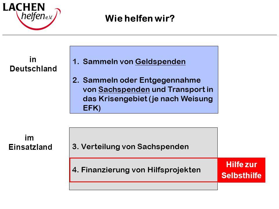 1.Sammeln von Geldspenden 2.Sammeln oder Entgegennahme von Sachspenden und Transport in das Krisengebiet (je nach Weisung EFK) in Deutschland 3. Verte