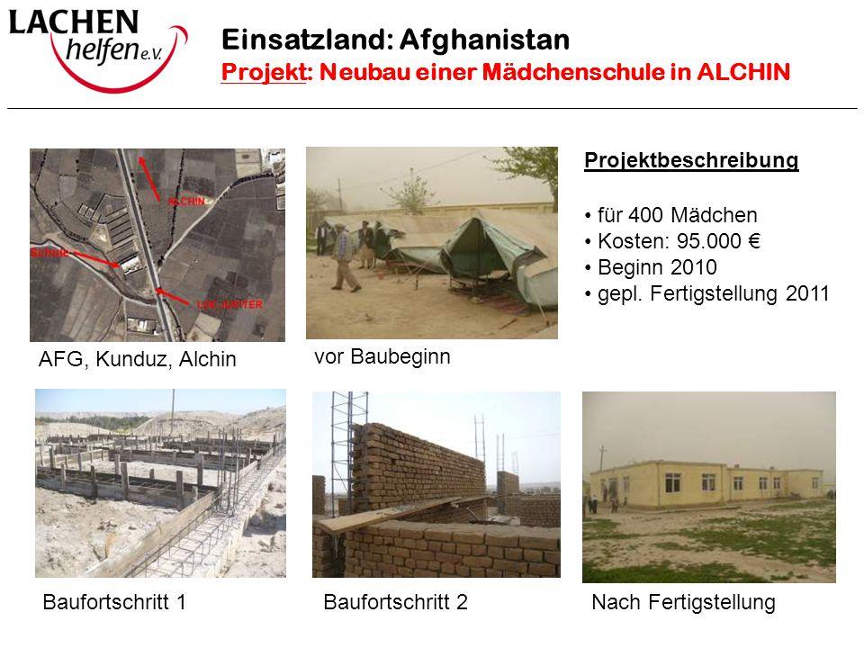 Projektbeschreibung für 400 Mädchen Kosten: 95.000 € Beginn 2010 gepl. Fertigstellung 2011 vor Baubeginn Nach Fertigstellung AFG, Kunduz, Alchin Baufo