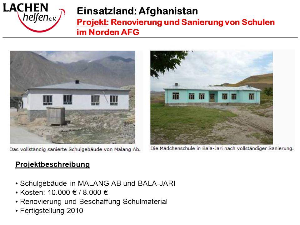 Projektbeschreibung Schulgebäude in MALANG AB und BALA-JARI Kosten: 10.000 € / 8.000 € Renovierung und Beschaffung Schulmaterial Fertigstellung 2010 E