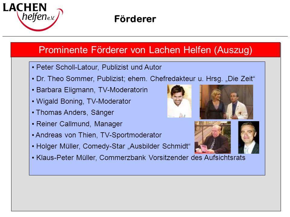 """Prominente Förderer Förderer Peter Scholl-Latour, Publizist und Autor Dr. Theo Sommer, Publizist; ehem. Chefredakteur u. Hrsg. """"Die Zeit"""" Barbara Elig"""