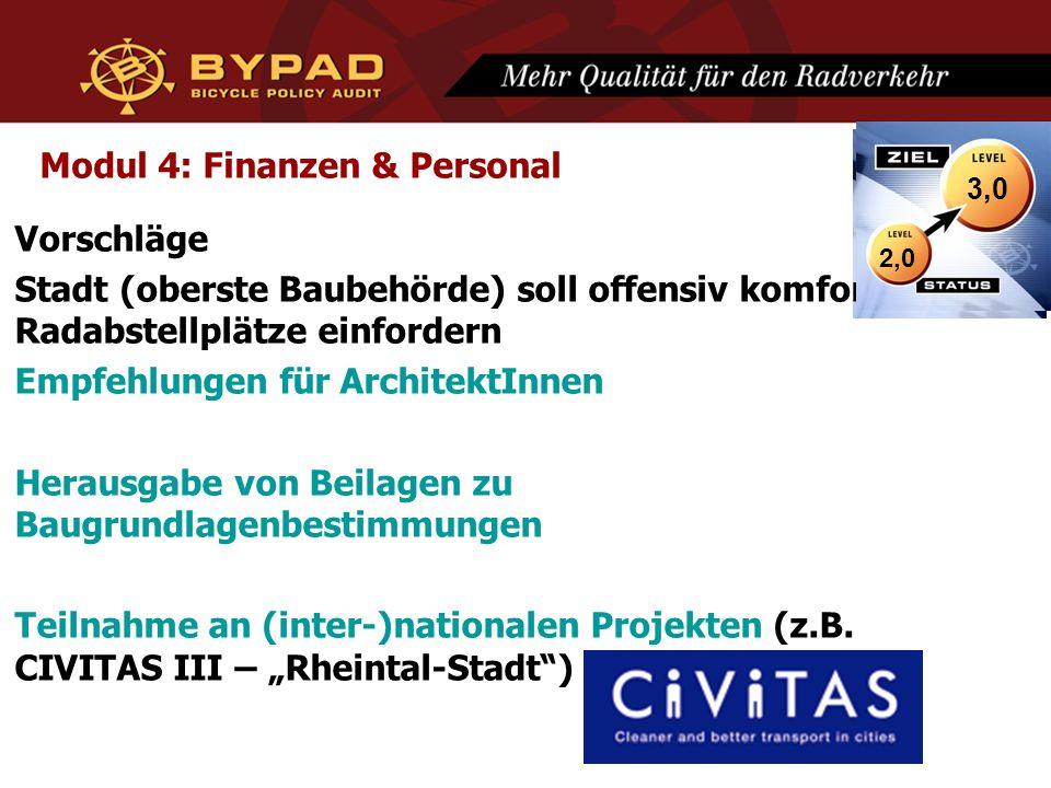 Modul 4: Finanzen & Personal Vorschläge Stadt (oberste Baubehörde) soll offensiv komfortable Radabstellplätze einfordern Empfehlungen für ArchitektInn