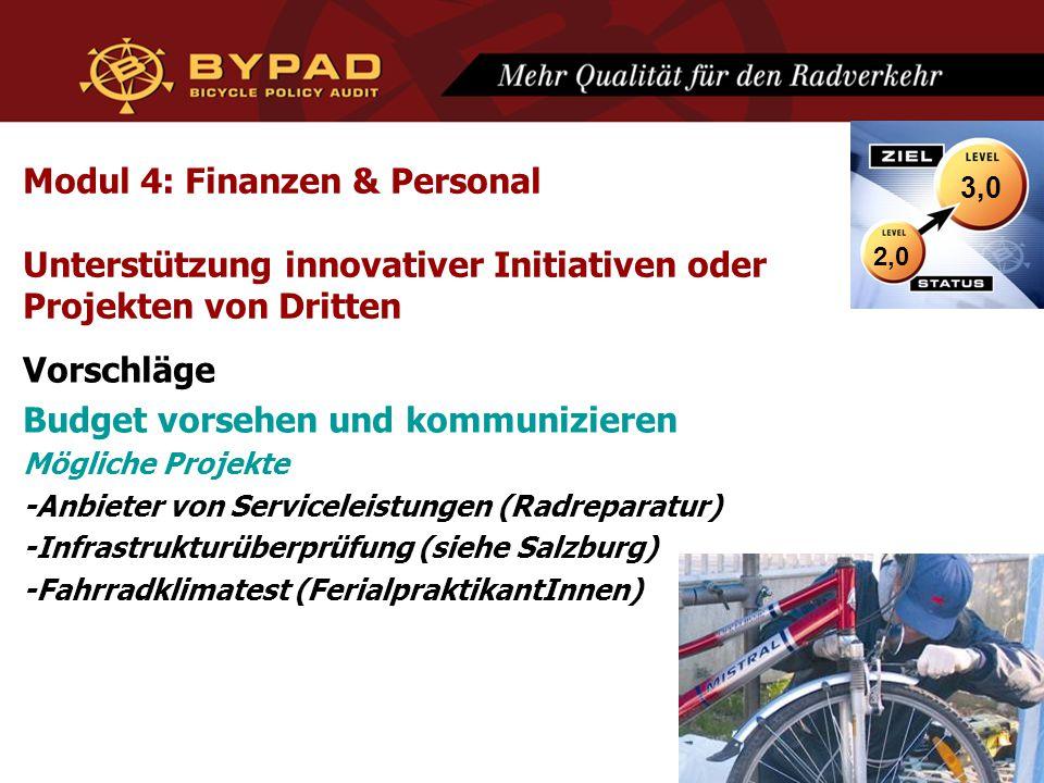 Modul 4: Finanzen & Personal Unterstützung innovativer Initiativen oder Projekten von Dritten Vorschläge Budget vorsehen und kommunizieren Mögliche Projekte -Anbieter von Serviceleistungen (Radreparatur) -Infrastrukturüberprüfung (siehe Salzburg) -Fahrradklimatest (FerialpraktikantInnen) 2,0 3,0