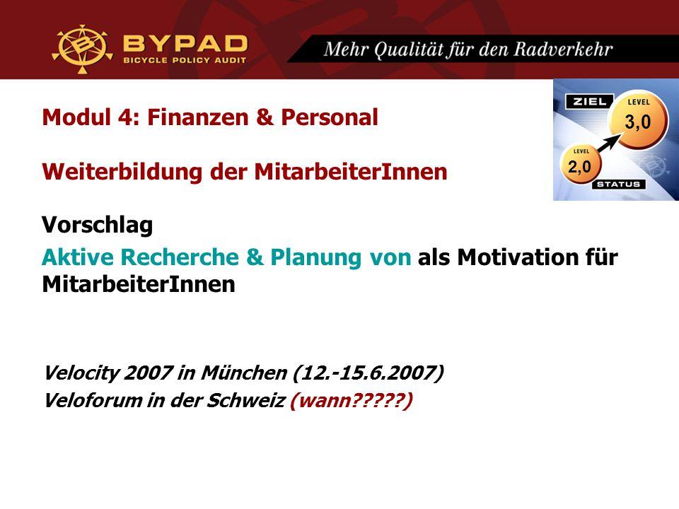 Modul 4: Finanzen & Personal Weiterbildung der MitarbeiterInnen Vorschlag Aktive Recherche & Planung von als Motivation für MitarbeiterInnen Velocity 2007 in München (12.-15.6.2007) Veloforum in der Schweiz (wann ) 2,0 3,0