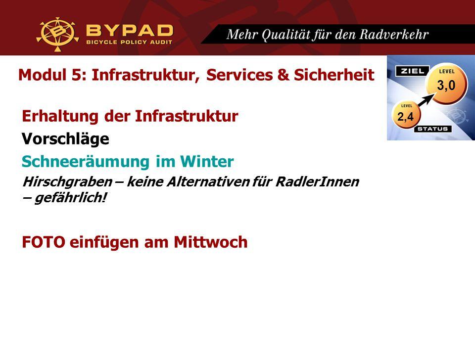 Modul 5: Infrastruktur, Services & Sicherheit Erhaltung der Infrastruktur Vorschläge Schneeräumung im Winter Hirschgraben – keine Alternativen für RadlerInnen – gefährlich.