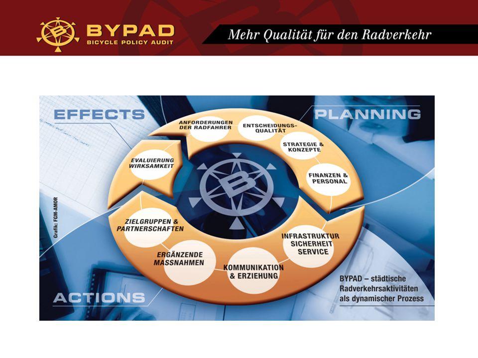 BYPAD in Zahlen 35 Fragen 9 Module 4 Qualitätslevels Level 1: Adhoc-Ansatz Level 2: Isolierter Ansatz Level 3: Systemorientierter Ansatz Level 4: Integrierter Ansatz