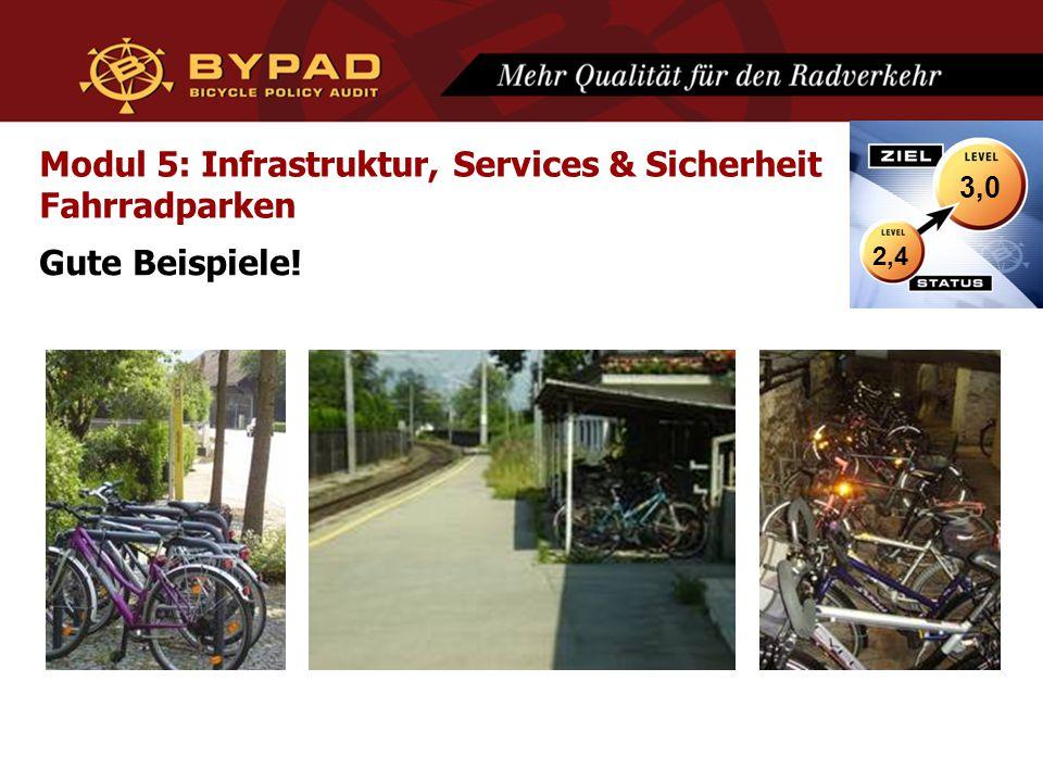 Modul 5: Infrastruktur, Services & Sicherheit Fahrradparken Gute Beispiele! 2,4 3,0