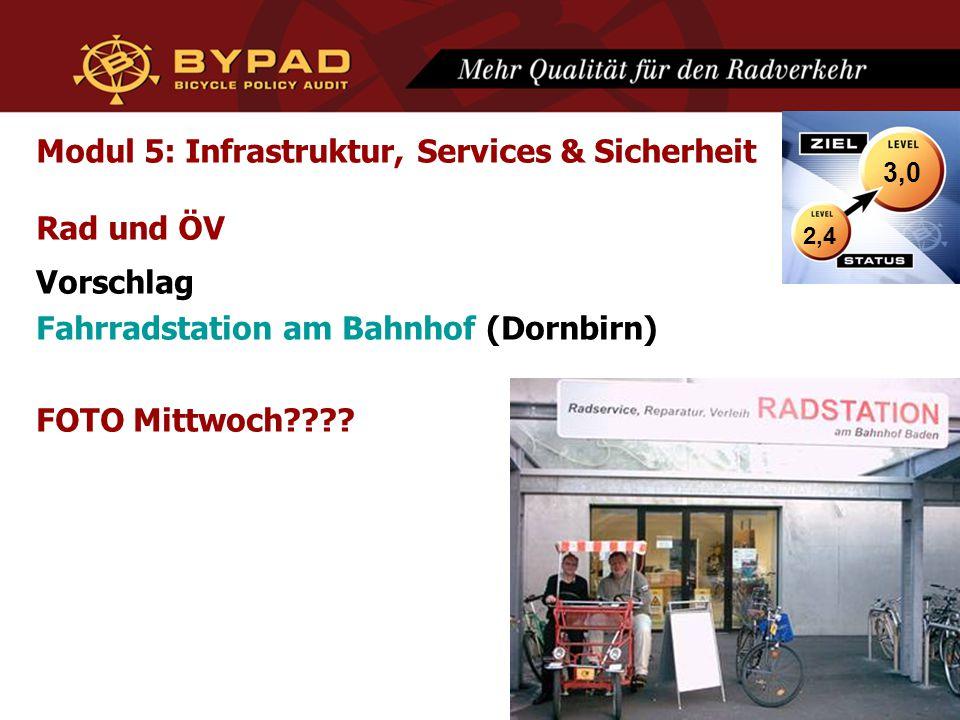 Modul 5: Infrastruktur, Services & Sicherheit Rad und ÖV Vorschlag Fahrradstation am Bahnhof (Dornbirn) FOTO Mittwoch???? 2,4 3,0