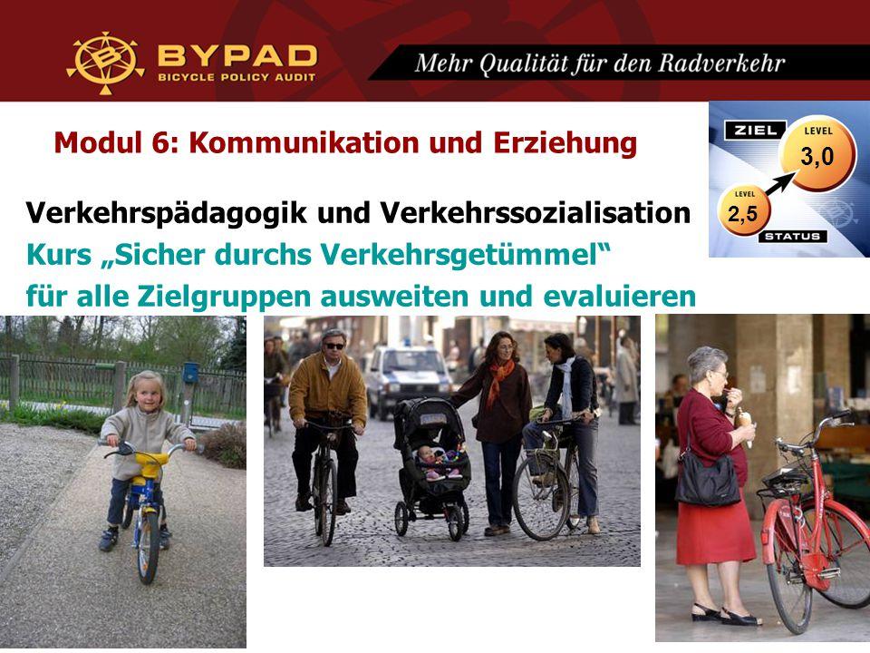"""Modul 6: Kommunikation und Erziehung Verkehrspädagogik und Verkehrssozialisation Kurs """"Sicher durchs Verkehrsgetümmel für alle Zielgruppen ausweiten und evaluieren 2,5 3,0"""