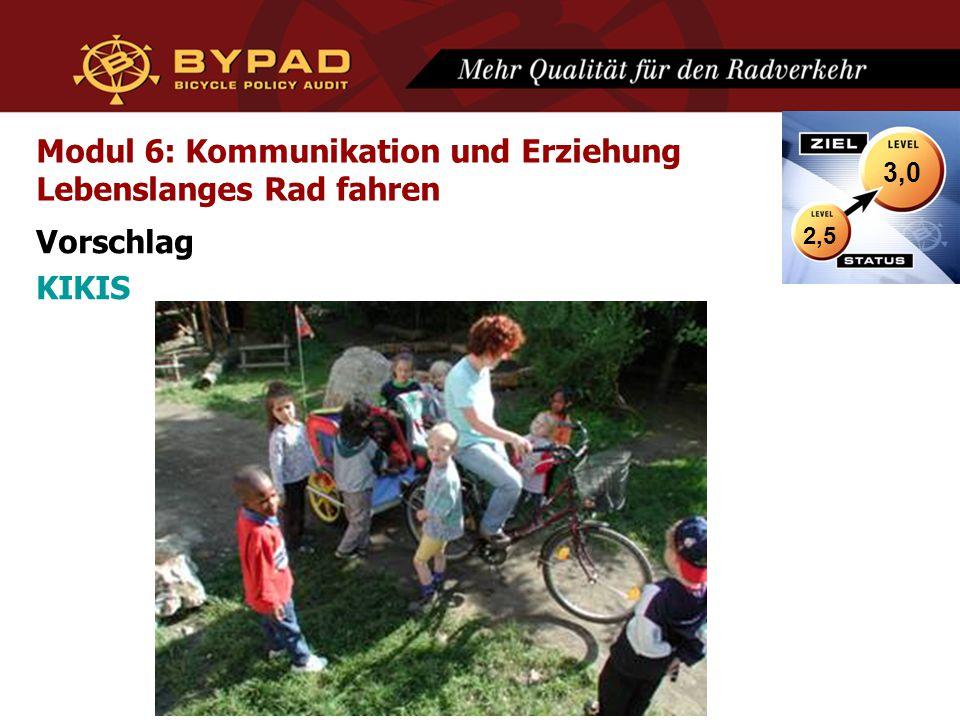 Modul 6: Kommunikation und Erziehung Lebenslanges Rad fahren Vorschlag KIKIS 2,5 3,0