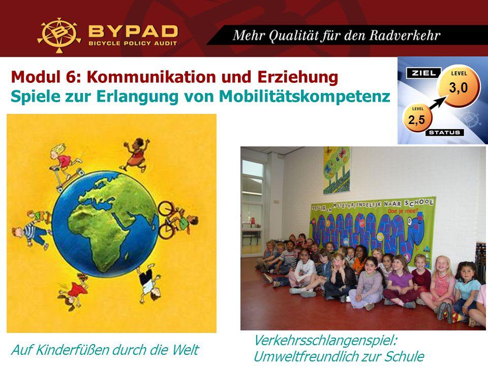 Modul 6: Kommunikation und Erziehung Spiele zur Erlangung von Mobilitätskompetenz 2,5 3,0 Auf Kinderfüßen durch die Welt Verkehrsschlangenspiel: Umweltfreundlich zur Schule
