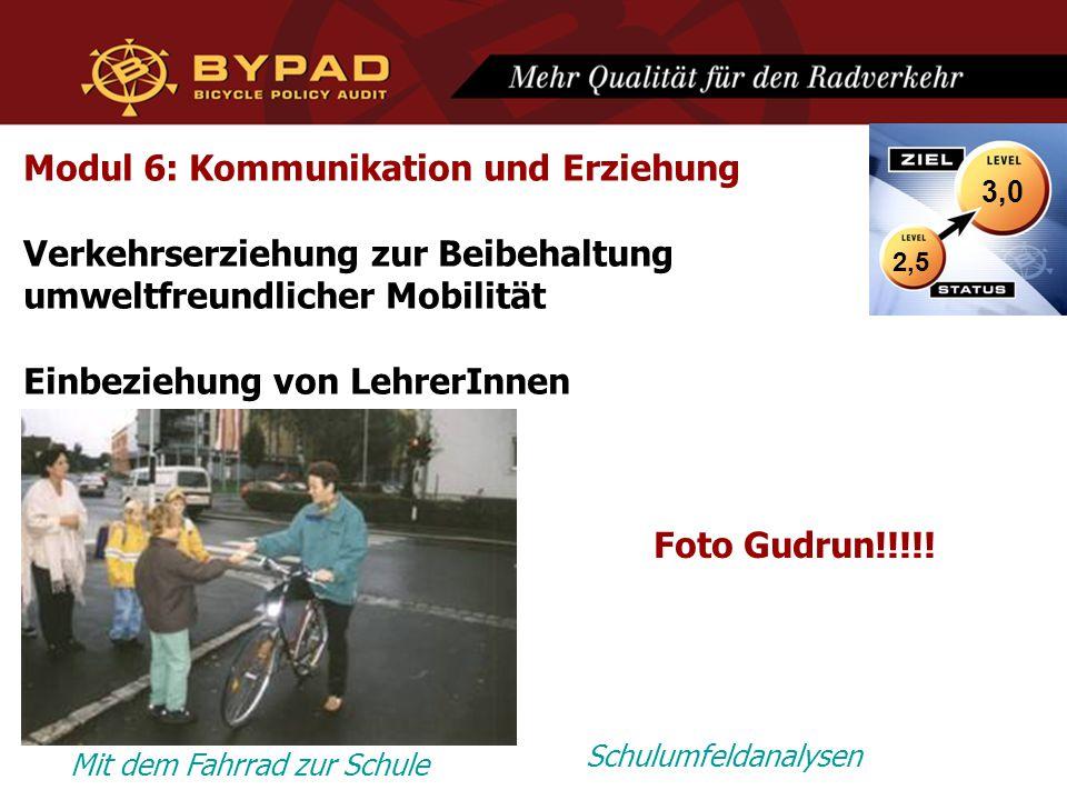 Modul 6: Kommunikation und Erziehung Verkehrserziehung zur Beibehaltung umweltfreundlicher Mobilität Einbeziehung von LehrerInnen Mit dem Fahrrad zur Schule Schulumfeldanalysen 2,5 3,0 Foto Gudrun!!!!!