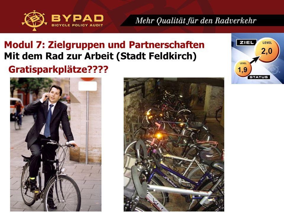 Modul 7: Zielgruppen und Partnerschaften Mit dem Rad zur Arbeit (Stadt Feldkirch) Gratisparkplätze???? 1,9 2,0