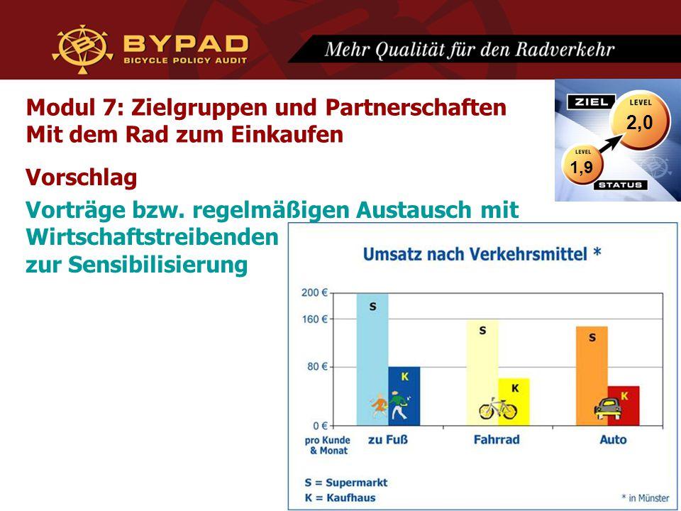 Modul 7: Zielgruppen und Partnerschaften Mit dem Rad zum Einkaufen Vorschlag Vorträge bzw. regelmäßigen Austausch mit Wirtschaftstreibenden zur Sensib