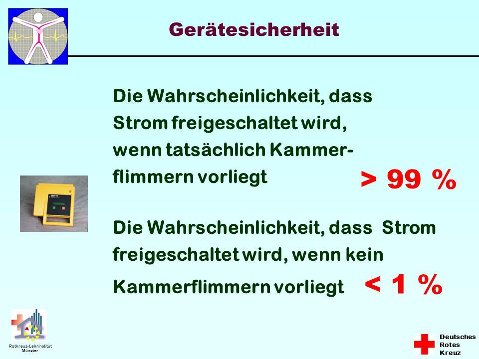 Deutsches Rotes Kreuz Rotkreuz-Lehrinstitut Münster Die Wahrscheinlichkeit, dass Strom freigeschaltet wird, wenn tatsächlich Kammer- flimmern vorliegt