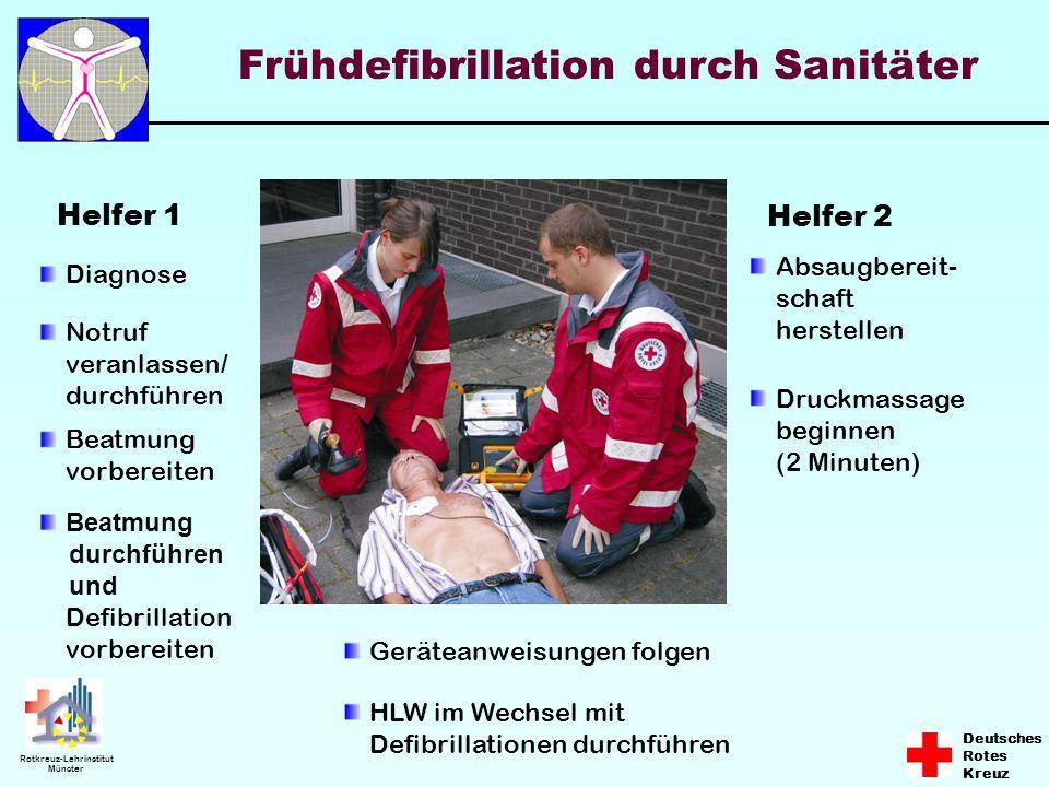 Deutsches Rotes Kreuz Rotkreuz-Lehrinstitut Münster Frühdefibrillation durch Sanitäter Helfer 1 Helfer 2 Diagnose Beatmung vorbereiten Notruf veranlas