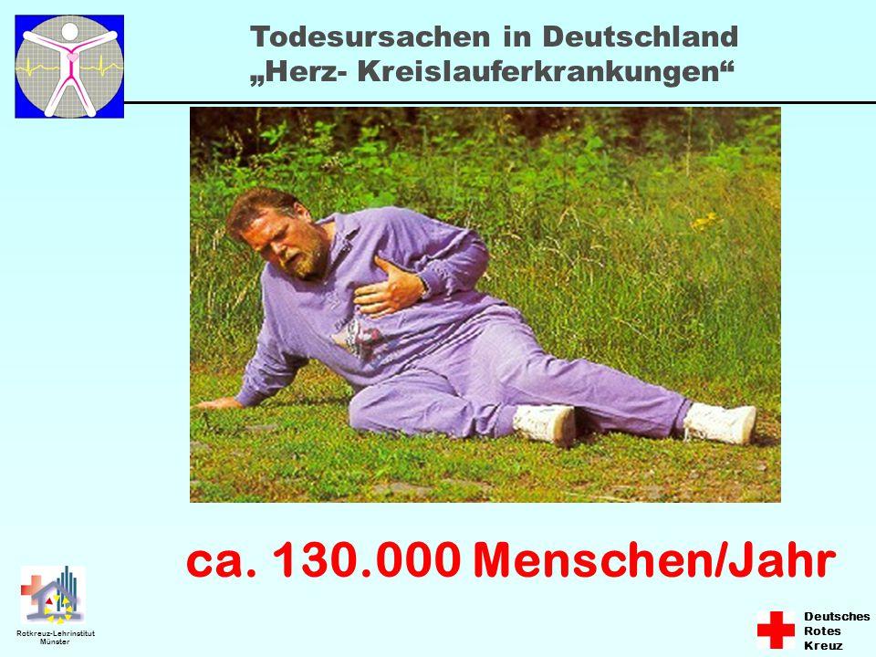 """Deutsches Rotes Kreuz Rotkreuz-Lehrinstitut Münster ca. 130.000 Menschen/Jahr Todesursachen in Deutschland """"Herz- Kreislauferkrankungen"""""""