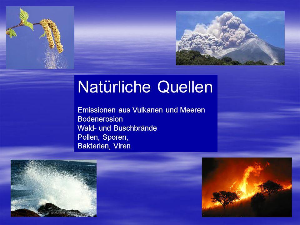 Natürliche Quellen Emissionen aus Vulkanen und Meeren Bodenerosion Wald- und Buschbrände Pollen, Sporen, Bakterien, Viren