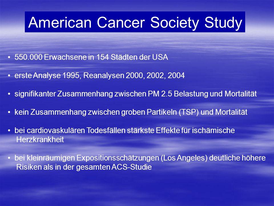American Cancer Society Study 550.000 Erwachsene in 154 Städten der USA erste Analyse 1995, Reanalysen 2000, 2002, 2004 signifikanter Zusammenhang zwi