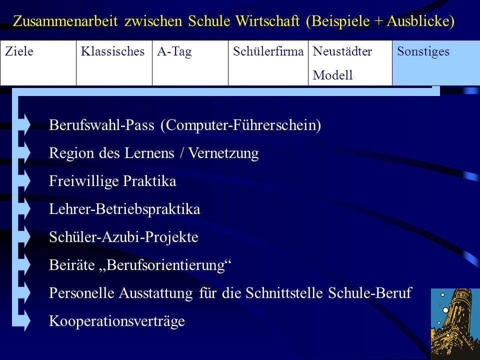 """Berufswahl-Pass (Computer-Führerschein) Freiwillige Praktika Lehrer-Betriebspraktika Region des Lernens / Vernetzung Schüler-Azubi-Projekte Beiräte """"B"""
