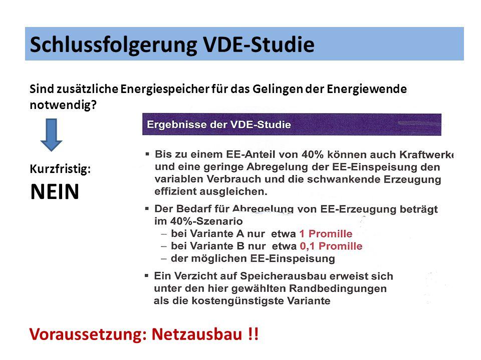 Schlussfolgerung VDE-Studie Sind mittel- bis langfristig zusätzliche Energiespeicher für das Gelingen der Energiewende notwendig.