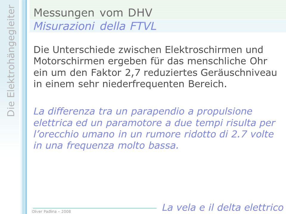 Oliver Padlina – 2008 Die Elektrohängegleiter La vela e il delta elettrico Messungen vom DHV Misurazioni della FTVL Die Unterschiede zwischen Elektros