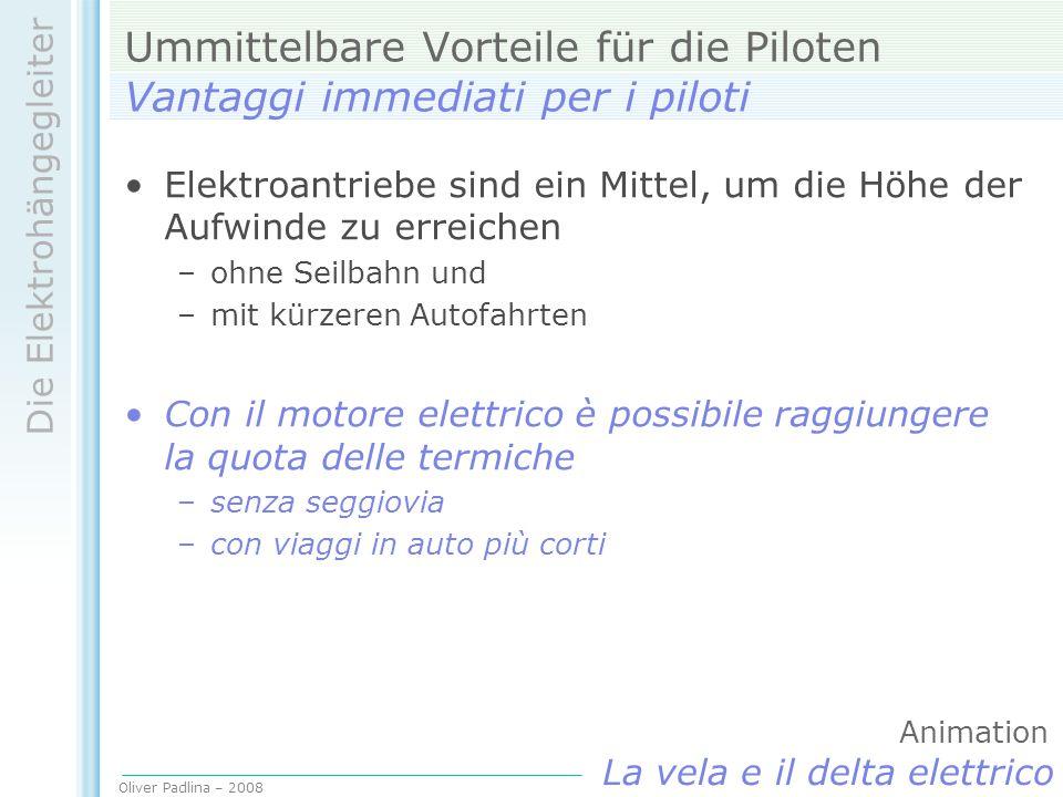 Oliver Padlina – 2008 Die Elektrohängegleiter La vela e il delta elettrico Ummittelbare Vorteile für die Piloten Vantaggi immediati per i piloti Elekt