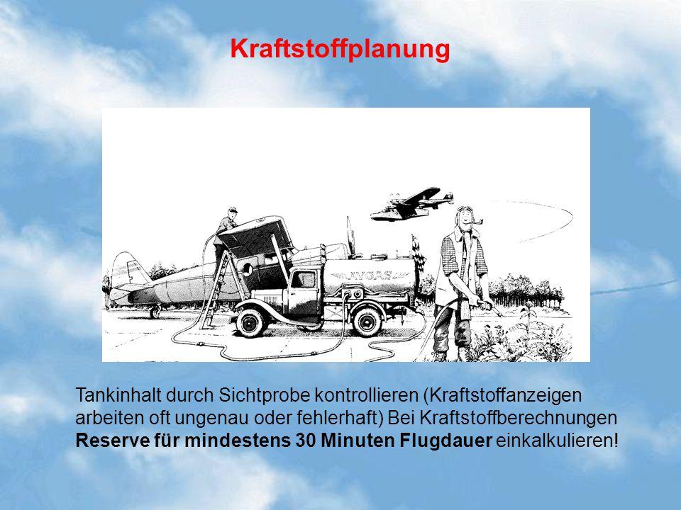 Kraftstoffplanung Tankinhalt durch Sichtprobe kontrollieren (Kraftstoffanzeigen arbeiten oft ungenau oder fehlerhaft) Bei Kraftstoffberechnungen Reser