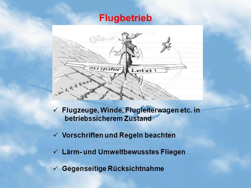 Flugbetrieb Flugzeuge, Winde, Flugleiterwagen etc. in betriebssicherem Zustand Vorschriften und Regeln beachten Lärm- und Umweltbewusstes Fliegen Gege