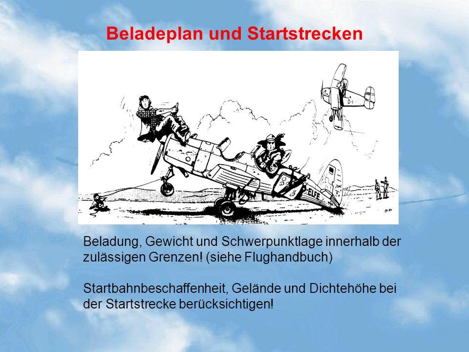 Beladeplan und Startstrecken Beladung, Gewicht und Schwerpunktlage innerhalb der zulässigen Grenzen! (siehe Flughandbuch) Startbahnbeschaffenheit, Gel