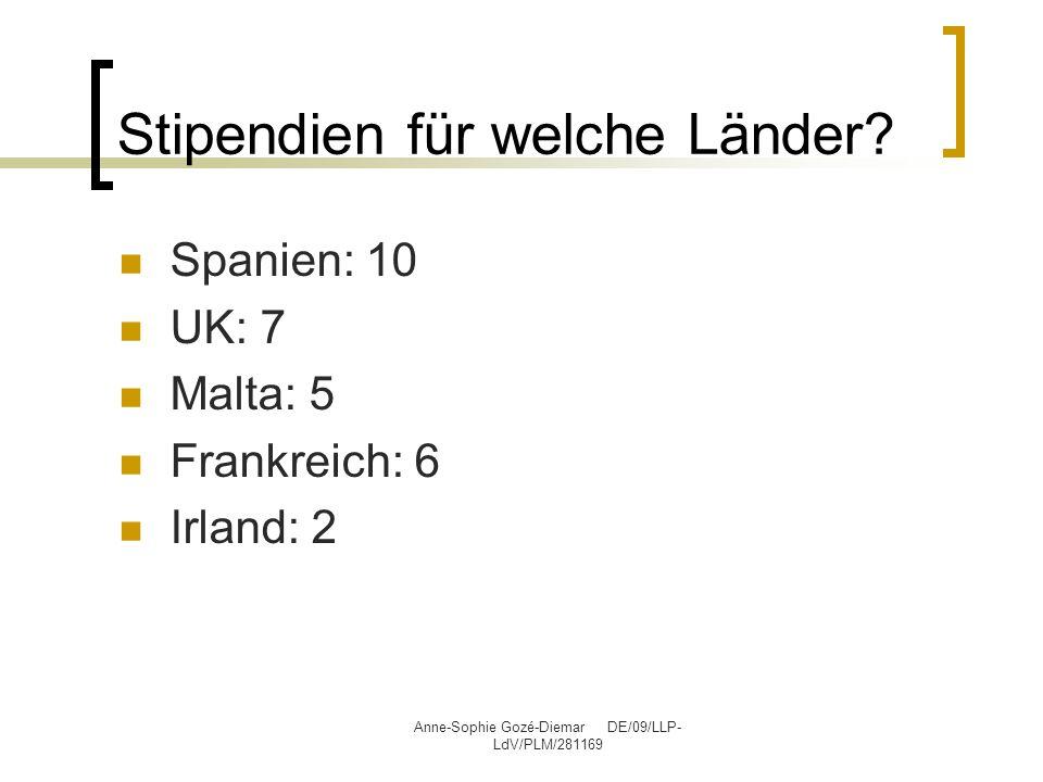 Anne-Sophie Gozé-Diemar DE/09/LLP- LdV/PLM/281169 Stipendien für welche Länder? Spanien: 10 UK: 7 Malta: 5 Frankreich: 6 Irland: 2
